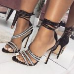 Apricot Crystal Sandals Ankle Straps High Heels