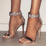 Stiletto Sandals with Open Toe Zipper Rhinestone Open Toe