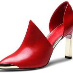 Amazon.com | Nine Seven Leather Pointy Cap Toe Handmade Stiletto Heel Pumps D & # 39; Orsay Handmade Heels (5, Red) | Sneakers
