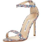 Chaos Floral-Print 105mm Sandal, Blue by Manolo Bl …
