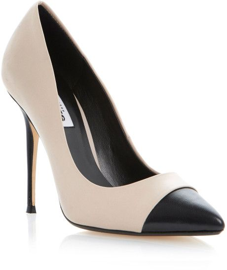 Dune Beige Alesha in contrast pointy cut shoes