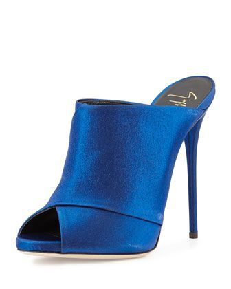 High-heeled mule with open toe, electric blue by Giuseppe Zanotti in Neiman Marcus.
