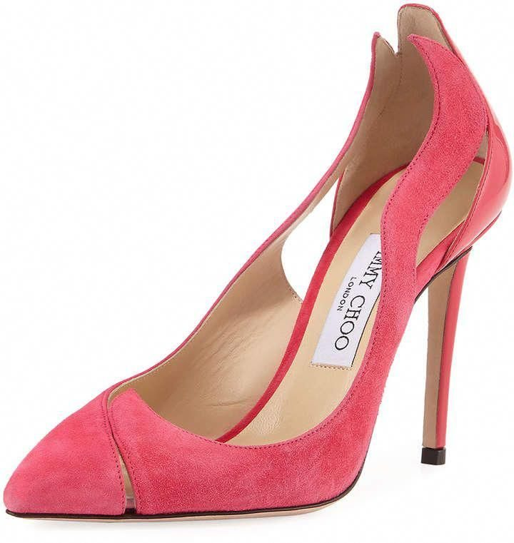 "Jimmy Choo Saga Suede Flame Cutout #Pumps! Jimmy Choo pump in suede and patent leather, with a design cut in the shape of a flame. 4 ""patent leather heel, pointed toe, low neckline, slip style, cushioned insole, smooth outsole."" Saga ""is made in Italy Size Note: Jimmy Choo is small, we suggest you ask for a size larger than you usually use #Stilettoheels"