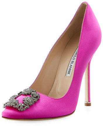Manolo Blahnik Hangisi 115 mm satin glass tip pump