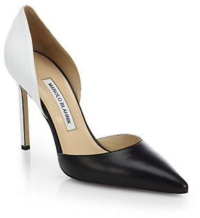 Manolo Blahnik Tayler two-tone leather pumps in shopstyle.com