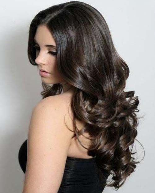New arrival cheap dark brown human hair long curly body hairstyle