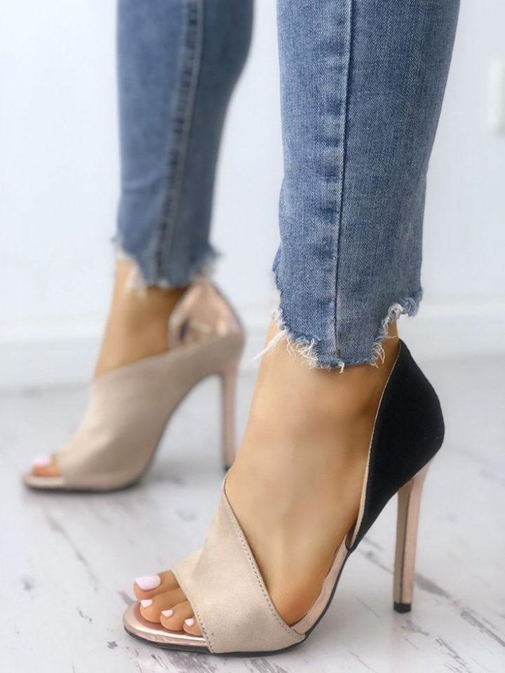 Peep Toe high-heeled sandals colorblock