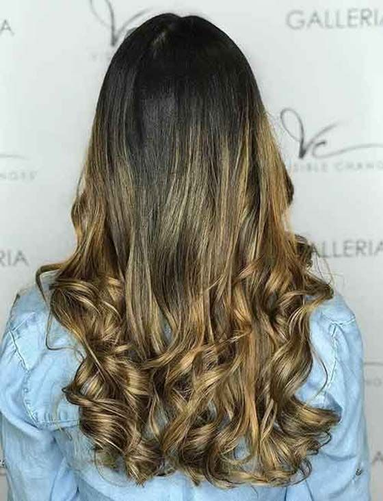 Beautiful blonde Balayage dark brown hair looks