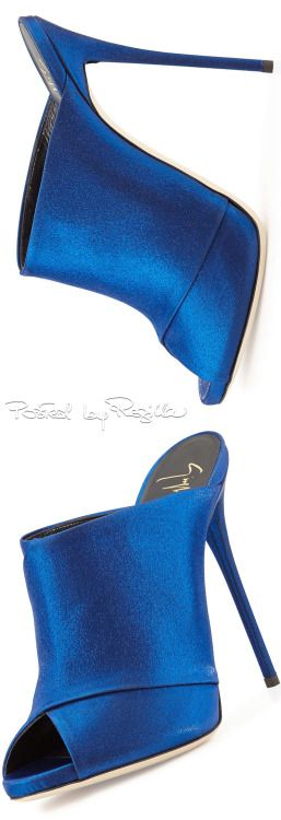 PeepToe Mule Royal Blue Satin