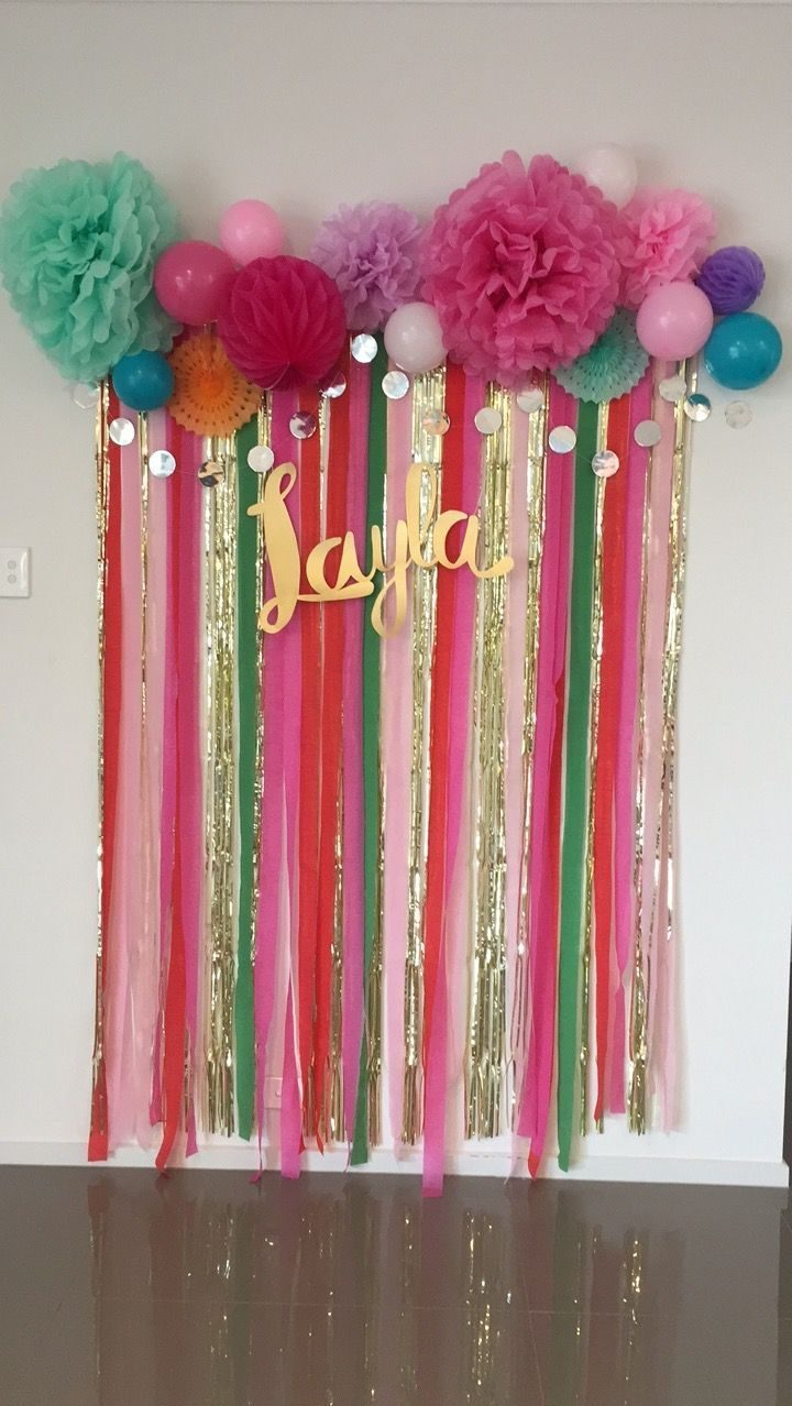 DIY photo wall # economic #cheap #kmart #streamers #balloons #bunting #girl #birthdayparty #pink #gold #diy