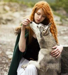 Fashion photos for girls with wolves