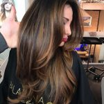 Long brown hair with layers and thin details