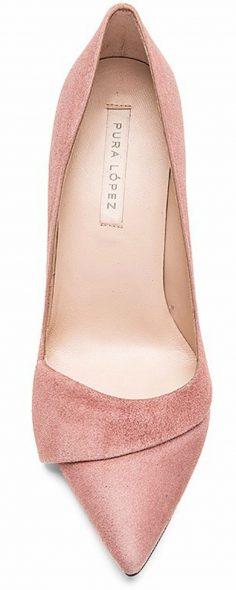 Pura Lopez Baby Heel in Suede Pink | TURN