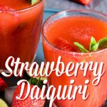 Ready for the BEST Strawberry Daiquiri recipe? This recipe for frozen daiquiri with sweet flavors of strawberries and coconut rum is the perfect recipe for a summer cocktail! #daiquiri #strawberrydaiquiri #daiquirirecipes #cocktails #cocktailrecipes via @recipespantry