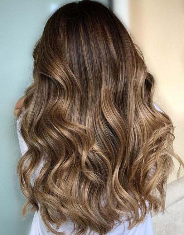 Subtle and bright balayage for medium brown hair