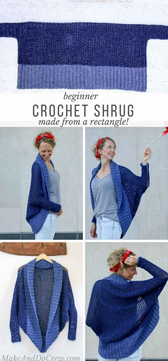 Do not let the dolman sleeves and the modern silhouette fool you, this easy shrug is made with basic stitches and simple shapes. Free beginner pattern