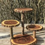 Large elm wood trunk Rustic cake 60 Cupcake Folding stand Wedding party