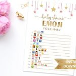 Baby Shower Emoji Game, Emoji Pictionary Baby Game, Printable Star Baby Shower Games, Pink and Gold || Baby Shower