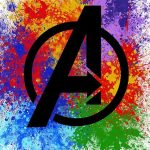 COLORFUL AVENGERS LOGO POSTER WITH COLORFUL INK SPLASH BEHIND LOGO