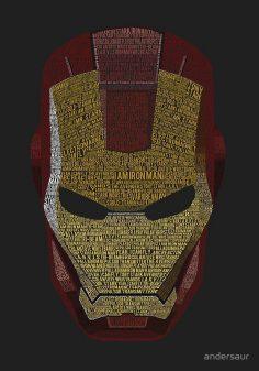 """IRON MAN TYPOGRAPHY ART (DEEP GRAY)"" BY ANDERSAUR | Marvel Comics"