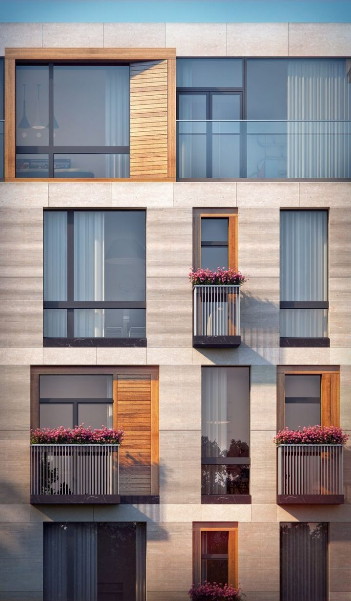 Residential building in Malaya ordynka. Fragment of the main facade. Project, 2016