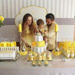 Yellow gray birthday concept || Baby Shower
