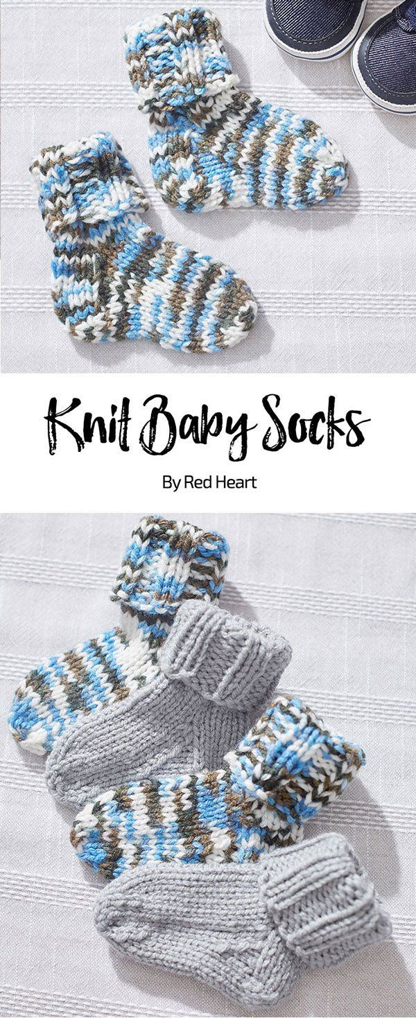 Knitted baby socks free knit pattern Baby Hugs Medium thread | Knitting Patterns