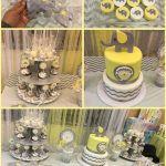 Elephants baby shower pastel yellow, gray and white