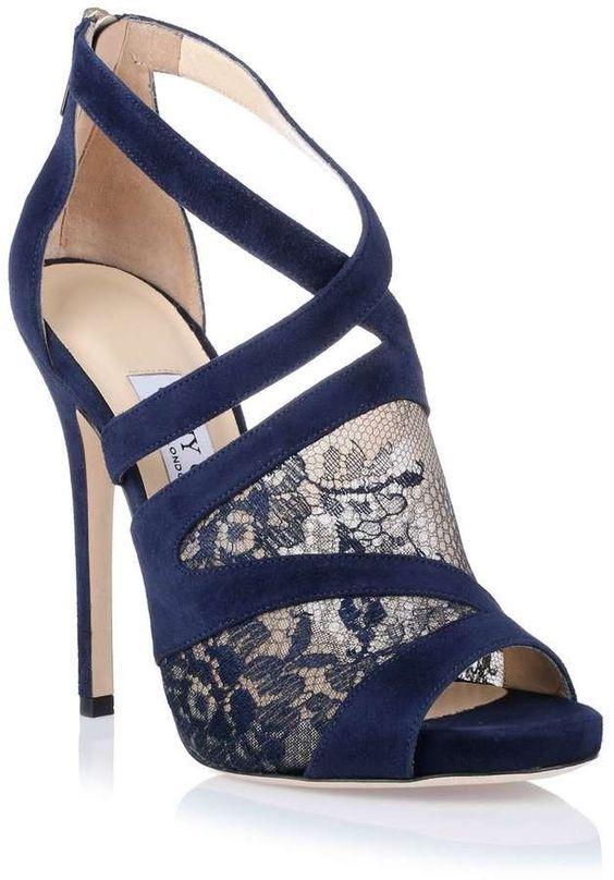 Jimmy Choo Vantage Navy Blue Lace Sandal