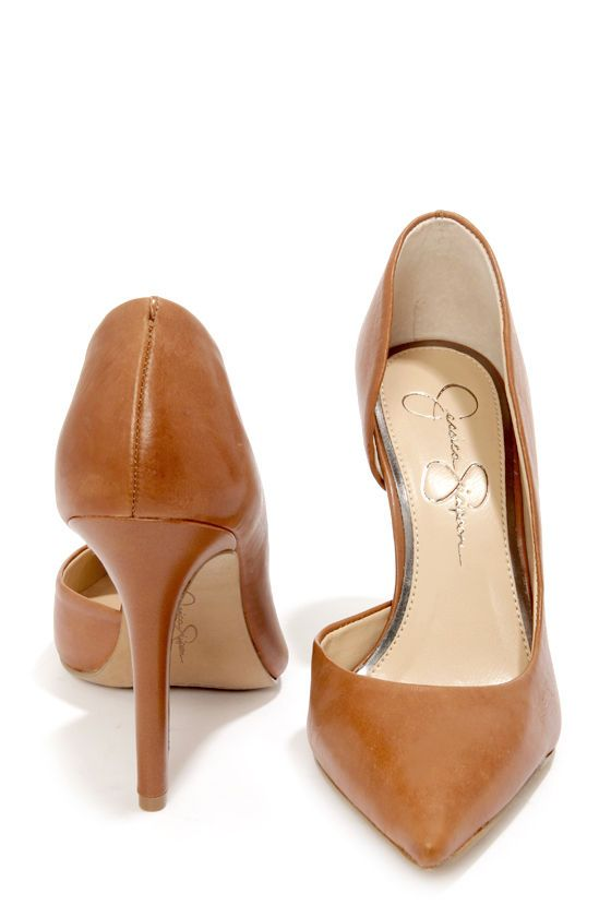 Leather pumps D & # 39; Orsay by Jessica Simpson Claudette Burnt Umber