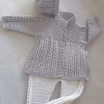 Quick-knit baby jacket, hat and matching pants.
