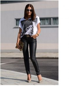 The best black leather pants of Street Style to copy right now
