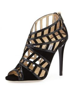 Vector black peep-toe strips sandal