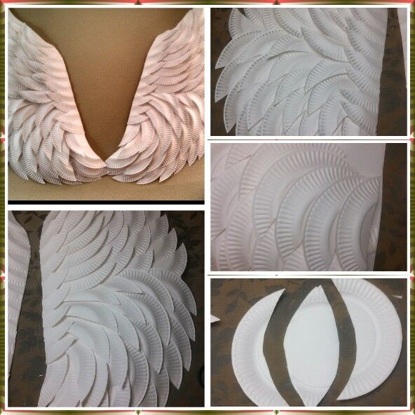 DIY ANGEL WINGS MADE WITH PAPER PLATES AND A HOT GLUE GUN. HE MADE SOME SHADE WITH SILVER PAINT AROUND THE EDGES | Diy and Crafts