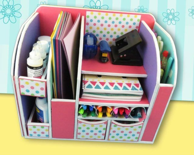 DIY: BEAUTIFUL CARDBOARD DESK ORGANIZER | Diy and Crafts