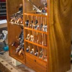 Mahogany ceiling, flat cabinet, storage of tools   WoodWorking
