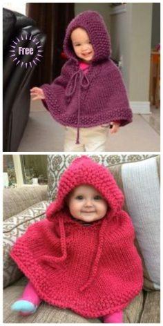 Knitted stitch Peach Baby Poncho free knitting pattern