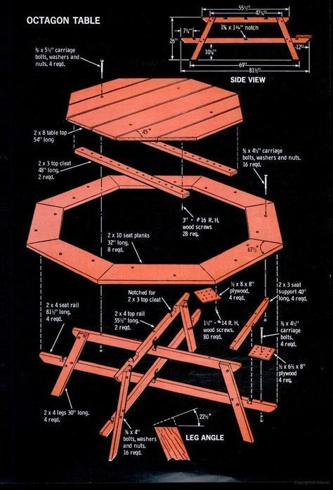 Popular Mechanics Hexagonal Picnic Table Plan | WoodWorking