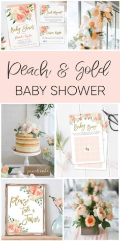 Dream baby shower in peach and gold | Baby Showers