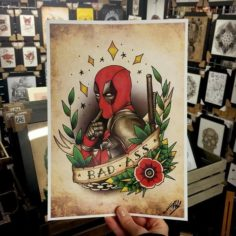 MARVEL DEADPOOL TATTOO INSPIRED ART PRINT | Marvel Comics
