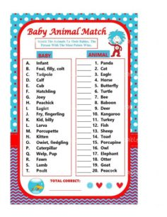 Dr Seuss Baby Animal Match Game Baby Animal | Baby Showers