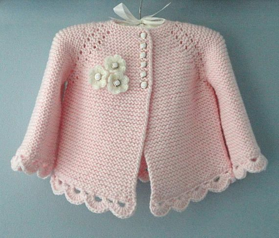 Knitting Baby Jacket Baby Cardigan Knitted Garter Knitted Pattern Baby Newborn Girl Jacket Knitted Coat Baby Cardigan PATTERN