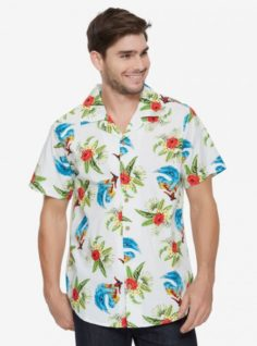 MARVEL DEADPOOL TROPICAL SURF WOVEN BUTTON-UP – BOXLUNCH EXCLUSIVE