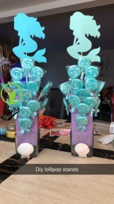 DIY Lollipop stands. Purchased seashells | Baby Showers