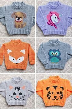 Knitting pattern for sweaters for babies and children with animals   Knitting Patterns