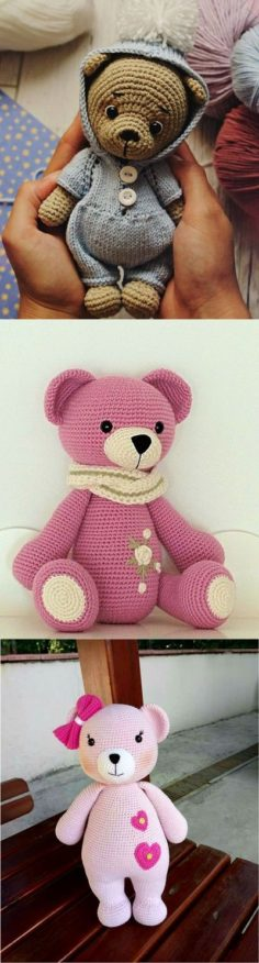 Amigurumi Crochet Teddy Bear (Pink Teddy Bear)   Knitting Patterns