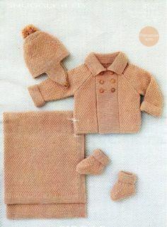 baby knitting pattern pdf baby coat hat booties   Knitting Patterns