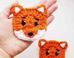 2 piece crochet bear applique set, forest animals, crochet animals, teddy bear appliques   Knitting Patterns