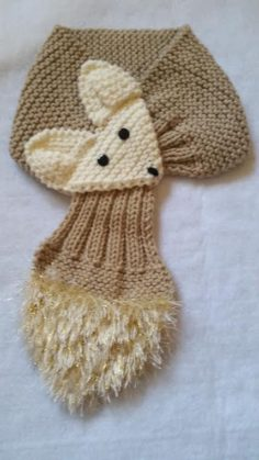 Adjustable fox scarf Hand-knitted Scarf / neck warmer for children or adults | Knitting Patterns