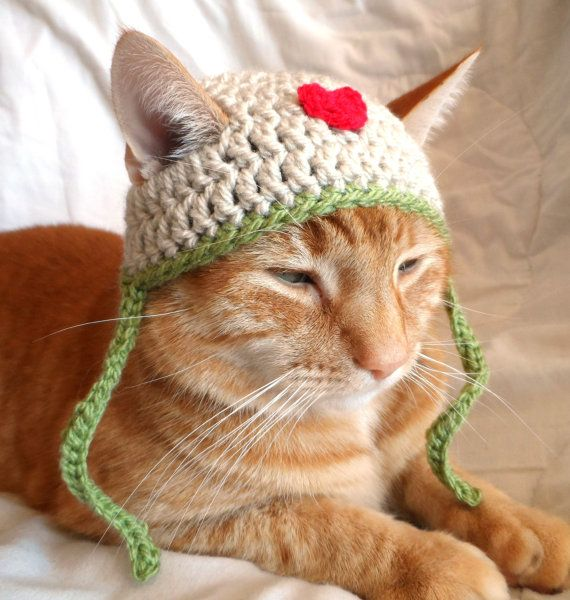 Cat hats, Crochet Cat Hat, Pet Cat Love Hat, everyday Cat Hat, Valentines Day Hat for cats | Knitting Patterns